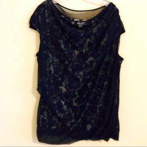 Twofer sleeveless top sheer overlay size 3x